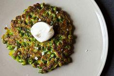 sweet pea & leek pancakes from food52