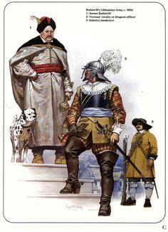 Ангус МакБрайд. Литовская армия Януша Радзивилла, около 1650 года: Януш Чёрный Радзивилл, великий гетман литовский, около 1654 года; немецкий кавалеристский или драгунский офицер, около 1650 года; пеший мушкетёр, около 1650 года.