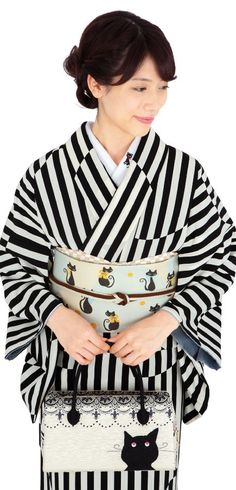 Black stripe kimono with cat accent
