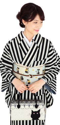 Black stripe kimono with cat accent