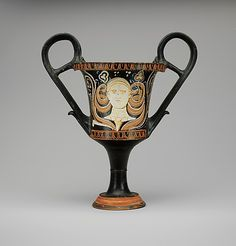 Terracotta kantharos (drinking cup with high handles)  Attributed to the Painter of Bari 5981   Period: Late Classical Date: ca. 325–300 B.C. Culture: Greek, South Italian, Apulian