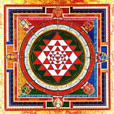 Color Sri yantra with yoginis.