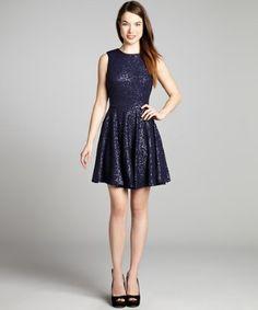 Cynthia Steffe : navy blue sleeveless sequin 'Sabella' evening dress
