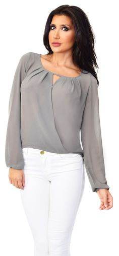 Grey Wrap Chiffon Blouse - Emprada                                                                                                                                                     More