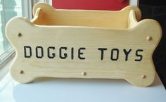 Dog Toy Box, Personalized Dog Toy Box, Handcrafted in the USA, Natural Wood Color