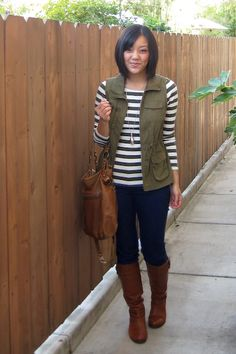 Top: Banana Republic | Army Vest: Old Navy | Jeggings: New York & Company Bag: Target | Boots: Dolce Vita via Macy's | Necklace: H&M