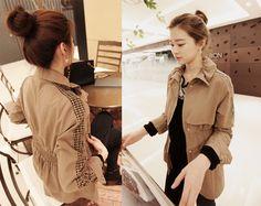 Beige Coat, Stylenanda, Korean Fashion, Jackets, Beauty, Beige Trench Coat, K Fashion, Down Jackets, Korea Fashion