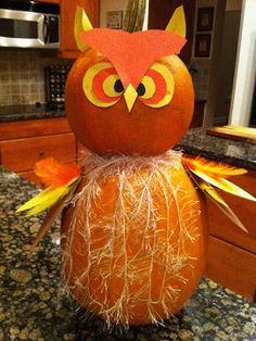 Owl decorated pumpkin could use this idea on foam ball to create owl decoration   Fall   Pinterest   Owl decorations Owl and Decorating & Owl decorated pumpkin could use this idea on foam ball to create ...