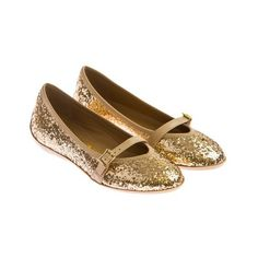 Salvatore Ferragamo Girls Gold Glitter Shoes With Strap (1.320 BRL) ❤ liked on Polyvore featuring girls y kids