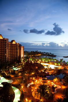 Aulani, A #Disney Resort & Spa in Oahu, #Hawaii features a lazy river, a zero-entry pool with a tunnel body slide, and a private, man-made snorkeling lagoon swimming with angel fish, yellow tangs, and butterfly fish.