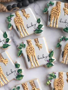 Fancy Cookies, Iced Cookies, Sugar Cookies, Baby Shower Cupcake Cake, Baby Shower Cookies, Giraffe Cookies, Sugar Cookie Royal Icing, Baby Shower Giraffe, Christmas Baby Shower