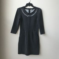 Guess Gray 3/4 Sleeve Stretch Vintage Wash Dress S