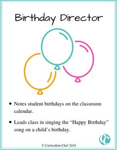 classroom jobs for elementary students birthday director Classroom Jobs Board, Classroom Calendar, Classroom Helpers, Classroom Management, Helper Jobs, Design Squad, Student Birthdays, Student Jobs, Birthday Songs