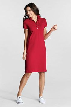 62f0f0f1d1fa40 Women s Regular Short Sleeve Tipped Collar Stretch Mesh Polo Dress from  Lands  End