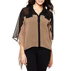 Bisou Bisou® Collared Chiffon Top - jcpenney
