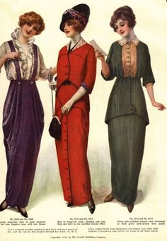 Fashion Plate, Advertisement for patterns, American: 1910, half of an image with six women.