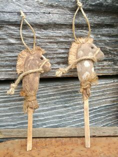 Primitive Grungy Stick Horse Christmas Ornaments