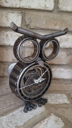 Steampunk owl clock 9 inch tall Created by atomicvault9 8/30/16