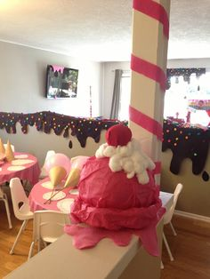 Deanna Moore Design  Ice cream social + covered in chocolate syrup + melting pink ice cream