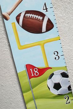 Canvas Growth Chart Custom Sports Football Golf Soccer Basketball Baseball by SweetDreamMurals on Etsy