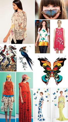 Great mood board of birds and butterfly patterns