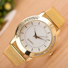 "Gold Stainless Steel Quartz Wrist Watch⏱ Gold Stainless Steel and Chrystal Mesh Band Quartz Wrist Watch - Length 9"" Accessories Watches"