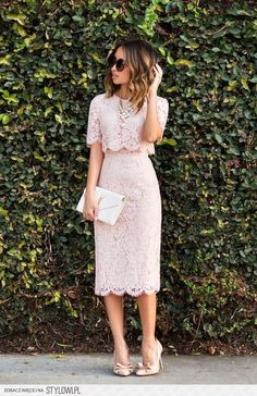 Nude, lace top & skirt
