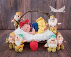 Crochet Snow White Set Photography by CuteNCuddlyCrochetTN on Etsy