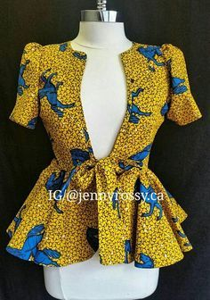 Collection of the most beautiful and stylish ankara peplum tops of 2018 every lady must have. See these latest stylish ankara peplum tops that'll make you stun Latest African Fashion Dresses, African Print Dresses, African Print Fashion, Africa Fashion, African Dress, African Prints, Ankara Fashion, African Fabric, African Blouses