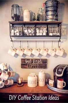 Great home coffee bar ideas - Love them ALL! - Health & Fitness Lifestyle - Great home coffee bar ideas - Love them ALL! Great home coffee bar ideas - Love them ALL! Coffee Bar Home, Home Coffee Stations, Coffee Area, Coffee Corner, Coffee Tables, House Coffee, Farm Tables, Rustic Kitchen, Diy Kitchen