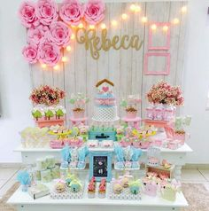 Desert treat table styled in pinks, blues and whites. Love the huge paper flowers, hanging ligjts and cakes. Picture perfect party set up for your daughter Unicorn Birthday, Unicorn Party, Soirée Pyjama Party, Decorating With Pictures, Decoration Pictures, Ideas Para Fiestas, Super Party, Birthday Pictures, Princess Party