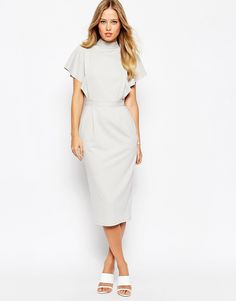 ASOS Pencil Dress with Kimono Sleeves and Cut Out Back