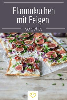 Tarte with goat cheese and figs- Flammkuchen mit Ziegenkäse und Feigen Slightly baked, but generously topped with goat cream cheese, serrano ham and figs – simply a treat! Pizza Recipes, Veggie Recipes, Mexican Food Recipes, Cooking Recipes, Healthy Recipes, Quiches, My Favorite Food, Favorite Recipes, Tasty