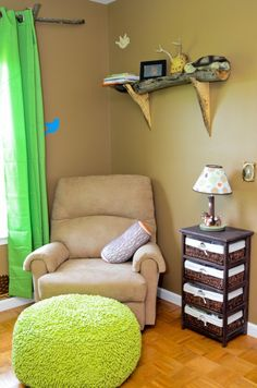 Log and Branch accents and shelving   Woodland themed nursery