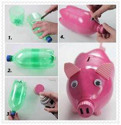 DIY Plastic Bottle Piggy. #crafts