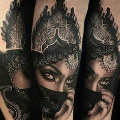 beautiful and detailed! Hand Tattoos, Top Tattoos, Body Art Tattoos, Girl Tattoos, Portrait Tattoos, Tattoo Kind, Full Tattoo, Inspiration Tattoos, Elefante Tribal