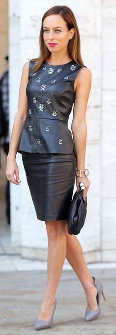 Bcbg Max Azria Black Embellished Leather Sleeveless Top by Sydne Style