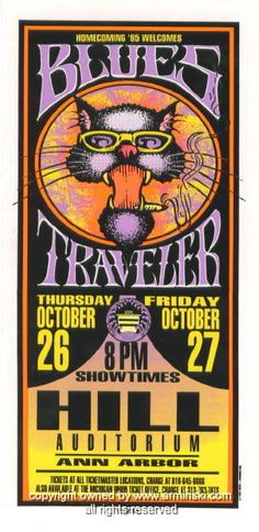 "Blues Traveler (click image for more detail) Artist: Mark Arminski Number: MA-050 Venue: Michigan Theater Location: Ann Arbor, MI Concert Date: 10/26/1995 - 10/27/1995 Size: 4"" x 8"" Condition: Mint No"