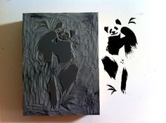 """@createstuff #30doc Day 5 A panda block print I carved, looking to print on bamboo (actual size 3""""x4"""")"""