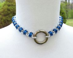 Slave Collar in Royal Blue & Silver with Ring by prettynorthern