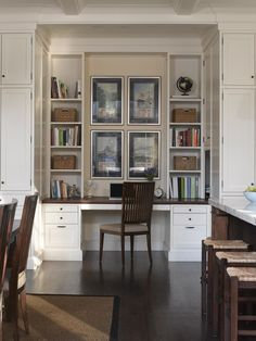 Beautifully decorated kitchen built-in desk.