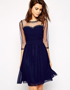 Little Mistress Sheer Midi Prom Dress with Embellished Neckline