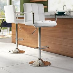Wade Logan® Isabell Bar with Wine Storage & Reviews | Wayfair Tall Stools, Counter Height Chairs, Swivel Bar Stools, Bar Chairs, Counter Stools, Island Chairs, Wood Chairs, Adjustable Bar Stools, Diana