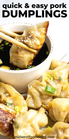 Mar 2020 - Just over 30 minutes from start to finish these pork dumplings are simple, satisfying and loaded with flavor! They're crispy yet tender making them the perfect main course or party appetizer! Pork Recipes, Asian Recipes, Real Food Recipes, Cooking Recipes, Yummy Food, Healthy Recipes, Cooking Ideas, Simple Food Recipes, Yummy Asian Food