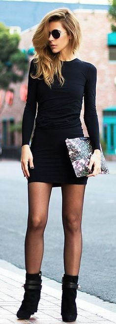 Casual black | Little black dress with ankle boots