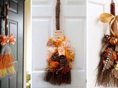 Koště nemusí vždy sloužit jen k uklízení: Podívejte se na tuto dekoraci, kde hlavní roli hraje právě koště! Garden Projects, Grapevine Wreath, Grape Vines, Wreaths, Fall, Home Decor, Autumn, Decoration Home, Door Wreaths