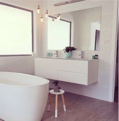 Bathroom Style featuring Kmart side table. Concrete succulent planter. Kmart hack alert. Painted XO!