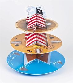 Pirate Ship Cupcake Stand 3 Tier Holds Up To 40 Cakes Quick and Easy to assemble Made From Card Holds Up To 40 Cupcakes Measures approx 33cm 14 High