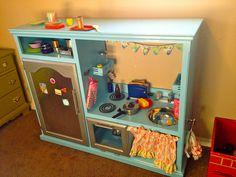 entertainment center to DIY play kitchen