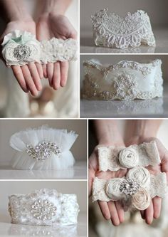 Wedding garters by Emily Riggs Bridal                                                                                                                                                                                 More